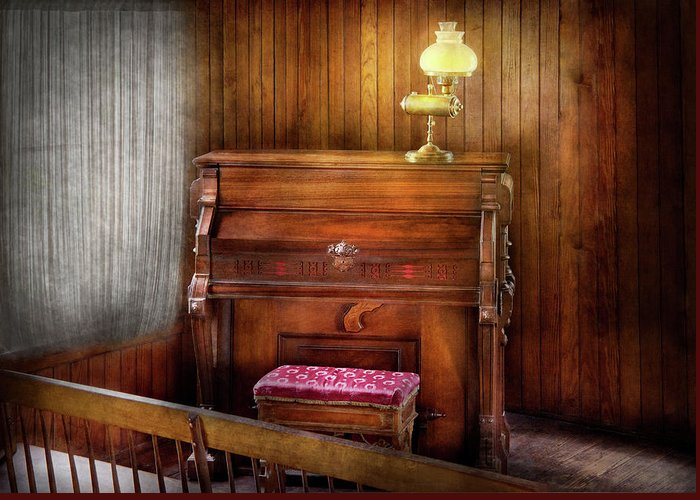 Hdr Greeting Card featuring the photograph Music - Organist - A Vital Organ by Mike Savad