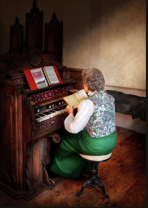 Hdr Greeting Card featuring the photograph Music - Organist - The Lord Is My Shepherd by Mike Savad