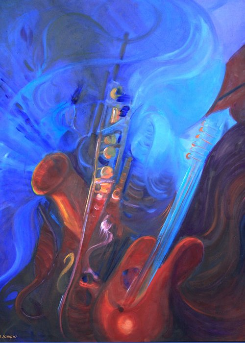 Abstract Greeting Card featuring the painting Music For Saxy by Gail Salitui