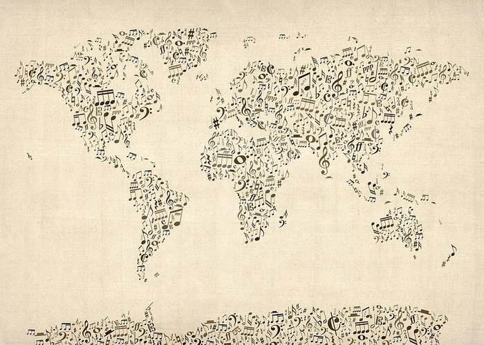 World Map Greeting Card featuring the digital art Music Notes Map Of The World Map by Michael Tompsett