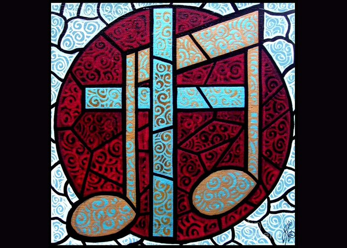 Cross Greeting Card featuring the painting Music Of The Cross by Jim Harris