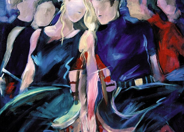 Figurative Greeting Card featuring the painting Musical Chairs by Ron Patterson