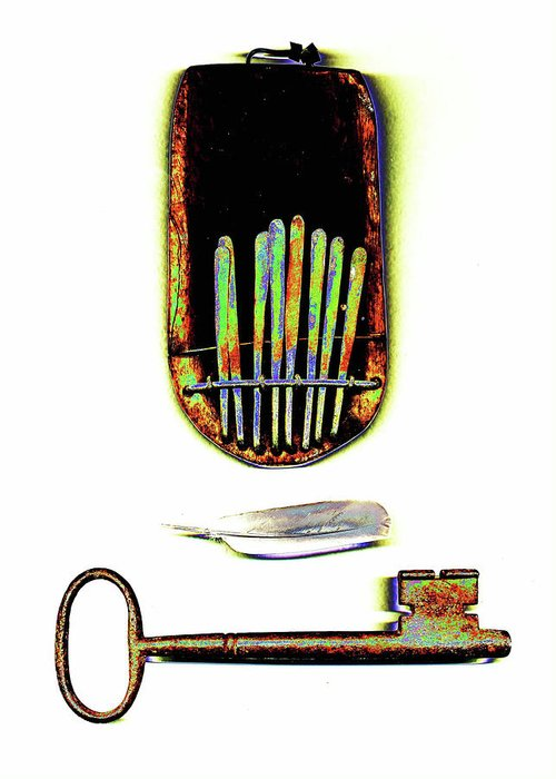 Key Greeting Card featuring the mixed media Musical Key by Ronald Rosenberg