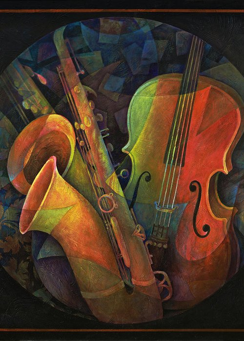 Susanne Clark Greeting Card featuring the painting Musical Mandala - Features Cello And Sax's by Susanne Clark