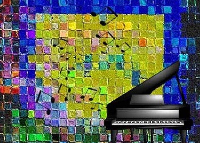 Quilt Greeting Card featuring the digital art Musical Quilt by Carola Ann-Margret Forsberg