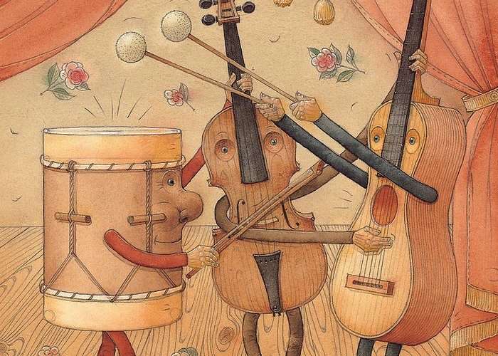 Music Instruments Guitar Violin Drums Concert Greeting Card featuring the painting Musicians by Kestutis Kasparavicius