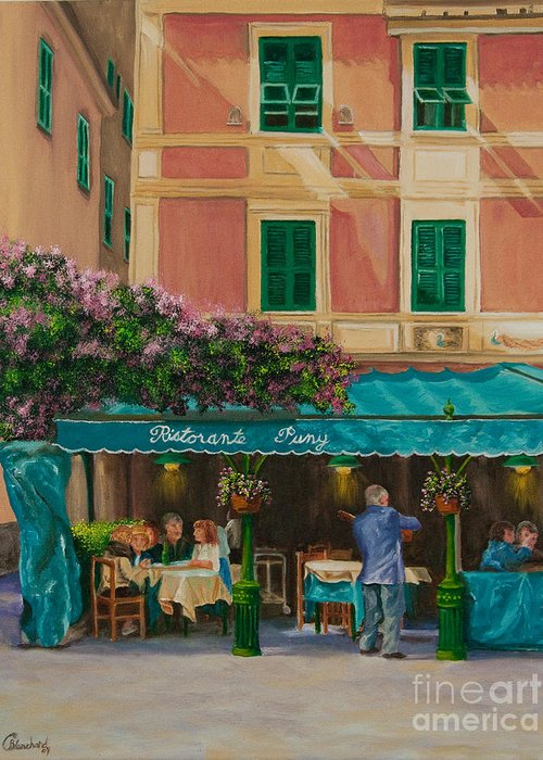 Portofino Italy Art Greeting Card featuring the painting Musicians' Stroll In Portofino by Charlotte Blanchard