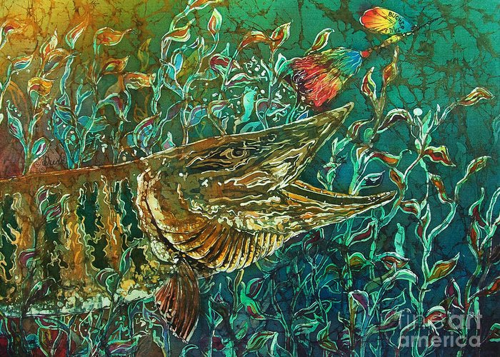 Batik Greeting Card featuring the tapestry - textile Musky- Chasin by Sue Duda