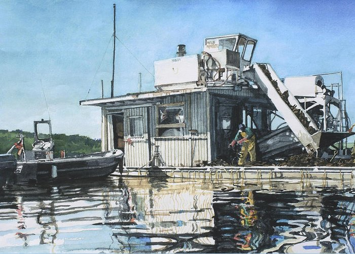 Motor Boat Greeting Card featuring the painting Mussel Harvest On Penn Cove by Perry Woodfin