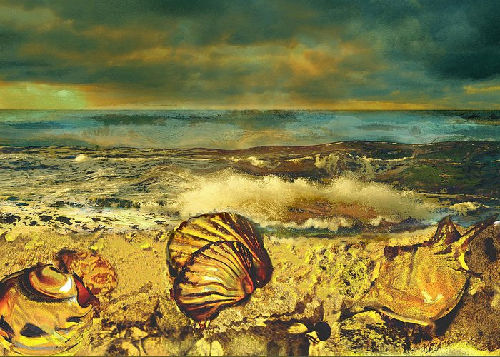 Mussels Greeting Card featuring the painting Mussels On The Beach by Anne Weirich