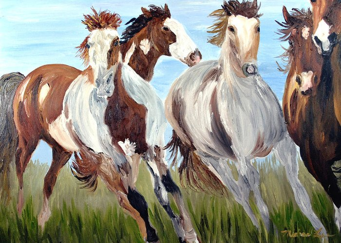Horse Greeting Card featuring the painting Mustangs Running Free by Michael Lee