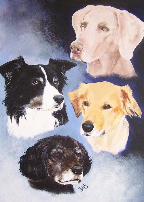 Pet Portrait Greeting Card featuring the painting Mutt Hut Dogs by Janice M Booth