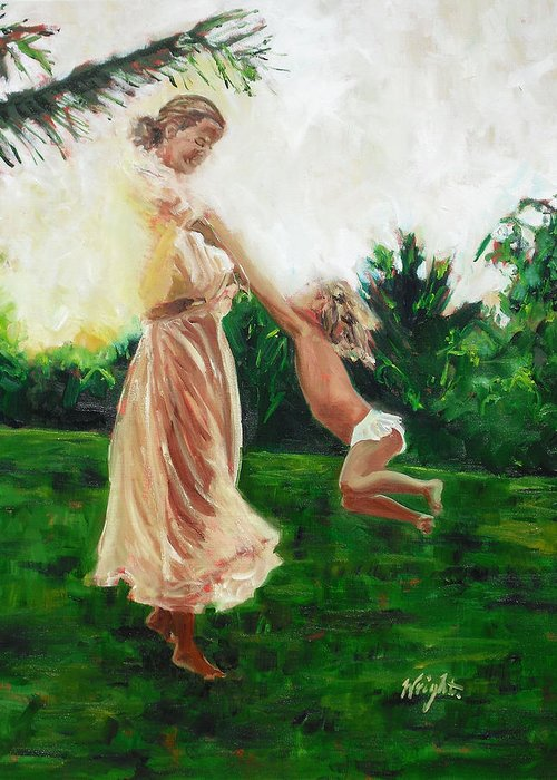 Mother Greeting Card featuring the painting My Angel by Molly Wright