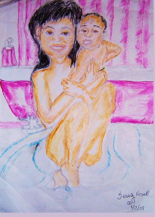 Deb And Rashaad Greeting Card featuring the greeting card My Baby by Beverly Howell