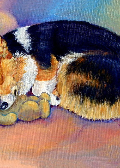 Pembroke Welsh Corgi Greeting Card featuring the painting My Baby Pembroke Welsh Corgi by Lyn Cook