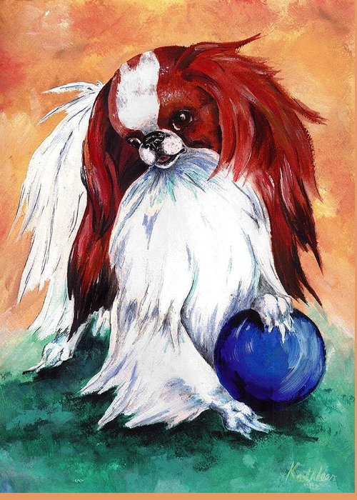 Japanese Chin Greeting Card featuring the painting My Ball by Kathleen Sepulveda