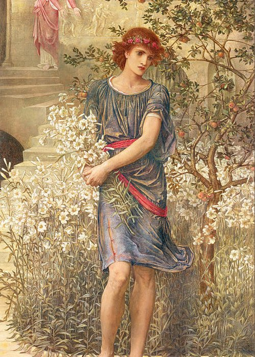 My Beloved Has Gone Down To His Garden Greeting Card featuring the painting My Beloved has gone down to his garden by John Melhuish Strudwick