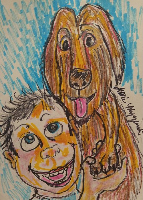 Dogs Greeting Card featuring the painting My Best Friend by Geraldine Myszenski