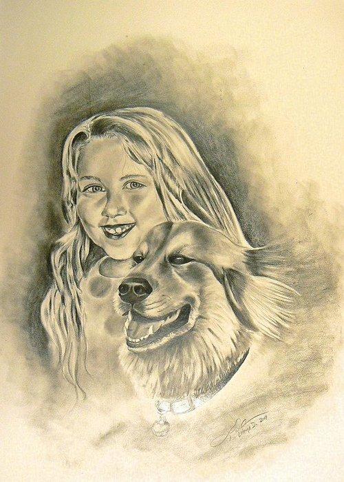 Animals Greeting Card featuring the drawing My Best Friend by Latonja Davis-Benson