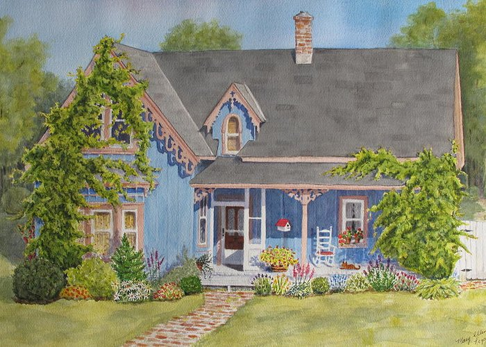 House Greeting Card featuring the painting My Blue Heaven by Mary Ellen Mueller Legault