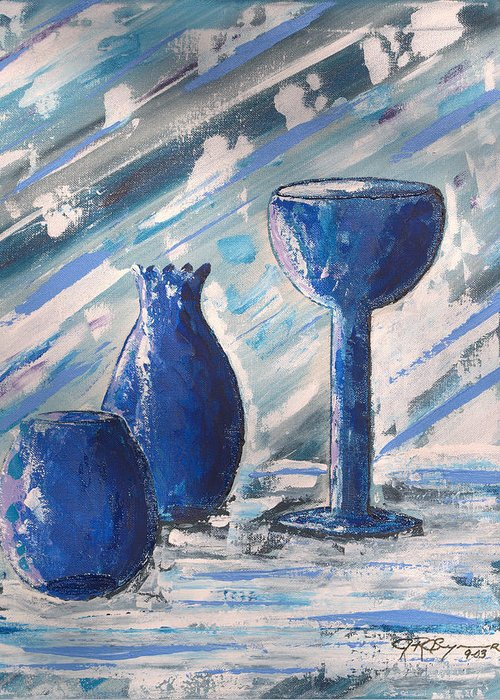 Vases Greeting Card featuring the painting My Blue Vases by J R Seymour
