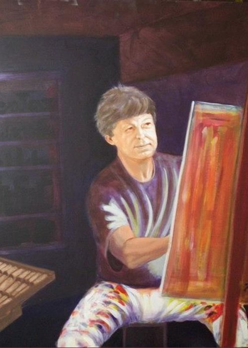 Portrait Greeting Card featuring the painting My Buddy William by Charles Peck