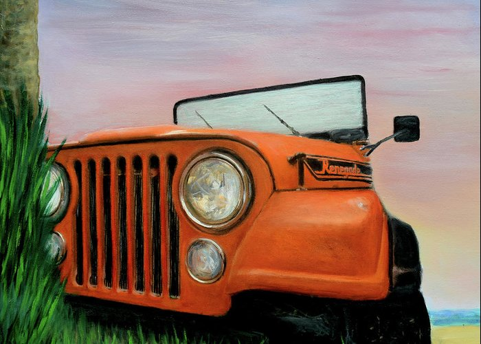 Hyper-realistic Greeting Card featuring the painting My Cj5 by Robert Tillberg