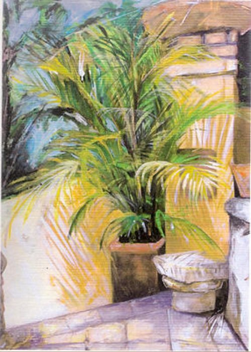 Plant Greeting Card featuring the painting My Corner by Michelle Winnie