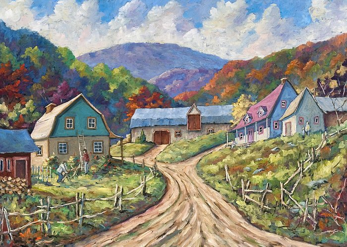 Country Greeting Card featuring the painting My Country My Village by Richard T Pranke