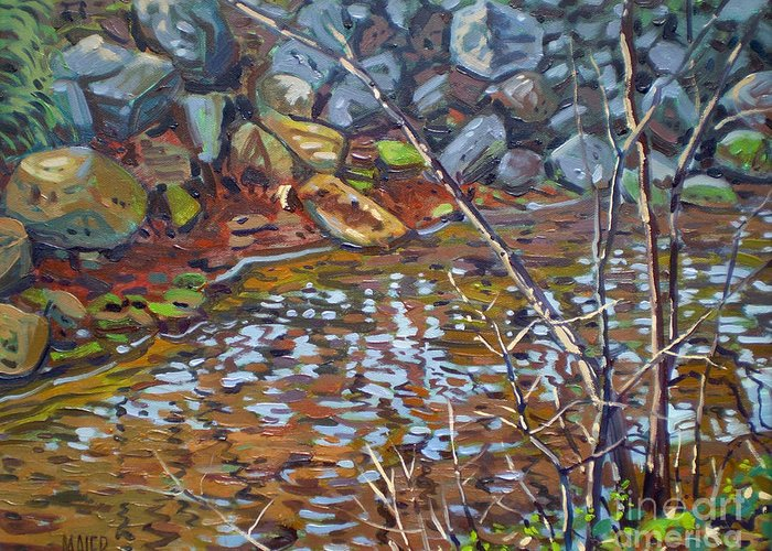 Creek Greeting Card featuring the painting My Creek by Donald Maier