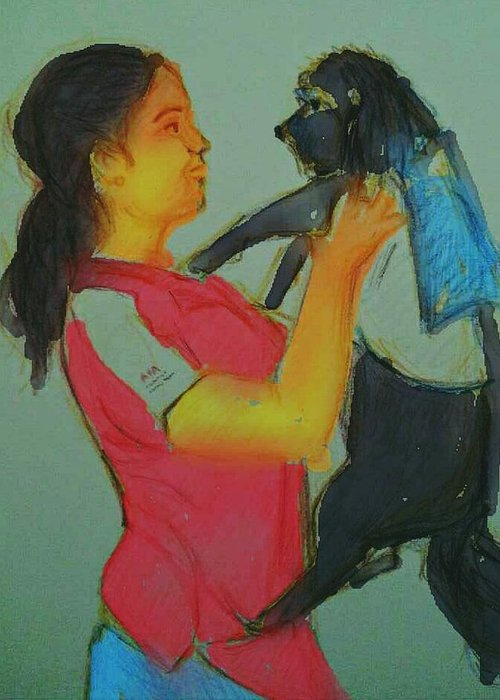 Girl Dog Dress Pick Red Blue Greeting Card featuring the digital art My Cute Dog by Vineeth Menon