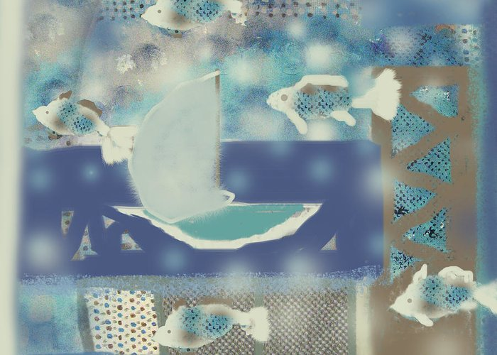Fish Greeting Card featuring the digital art My Dream's Journey by Aliza Souleyeva-Alexander
