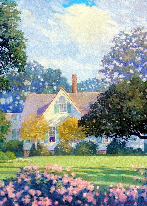 House Greeting Card featuring the painting My Fathers House by Kevin Lawrence Leveque