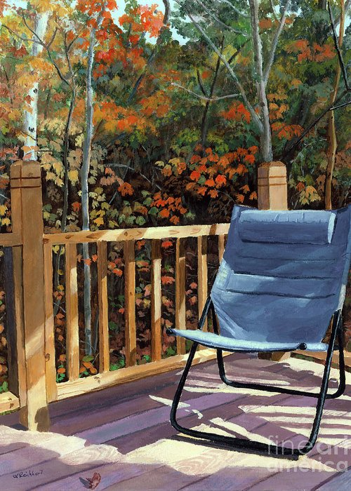 Camp. Fall Greeting Card featuring the painting My Favorite Spot by Lynne Reichhart