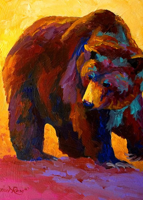 Bear Greeting Card featuring the painting My Fish - Grizzly Bear by Marion Rose