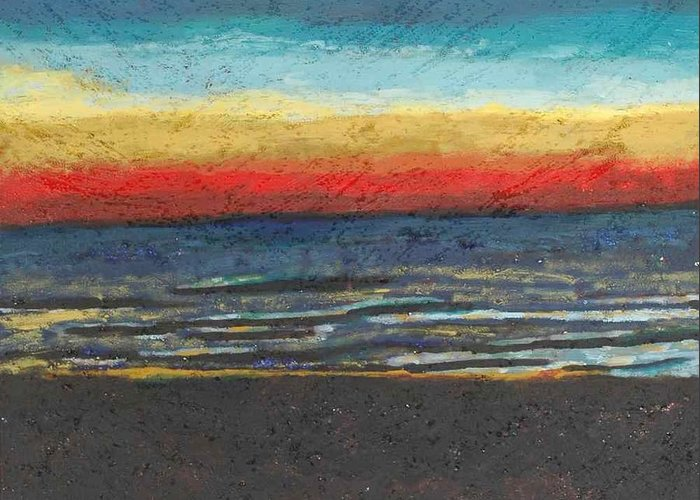 Landscape Greeting Card featuring the painting My Florida Sunset by Rika Maja Duevel