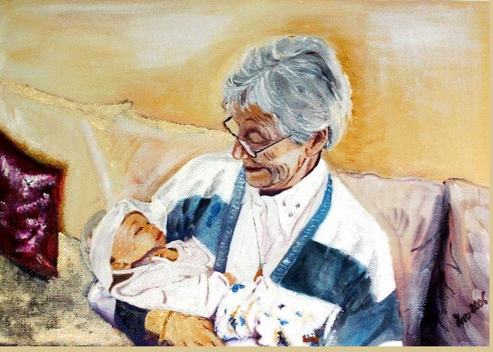 Portrait Greeting Card featuring the painting my granddaughter Leonie with her great grandmum by Helmut Rottler