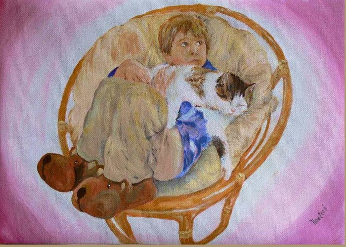 Portrait Greeting Card featuring the painting my grandson Pascal with his cat Paul by Helmut Rottler