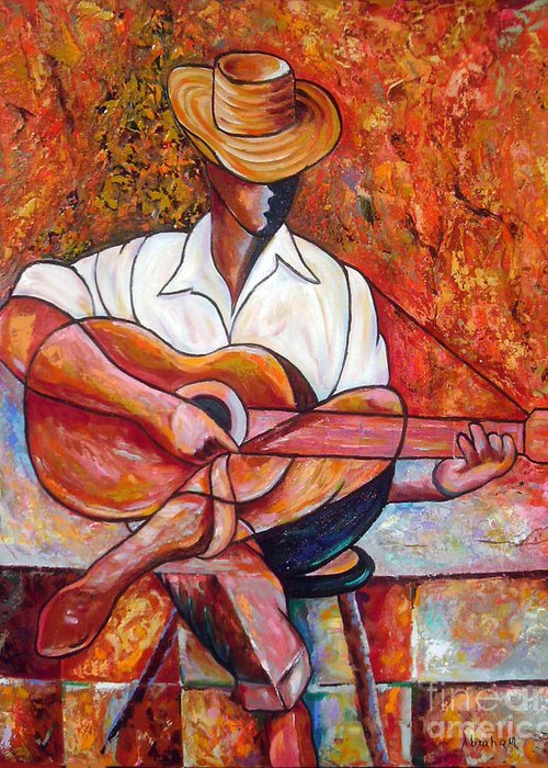 Cuba Art Greeting Card featuring the painting My Guitar by Jose Manuel Abraham