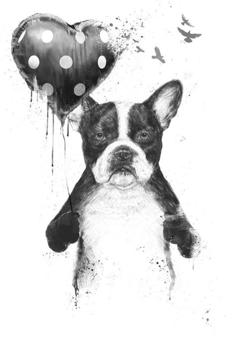 Bulldog Greeting Card featuring the mixed media My Heart Goes Boom by Balazs Solti