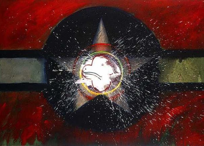 Usaaf Insignia Greeting Card featuring the painting My Indian Red by Charles Stuart