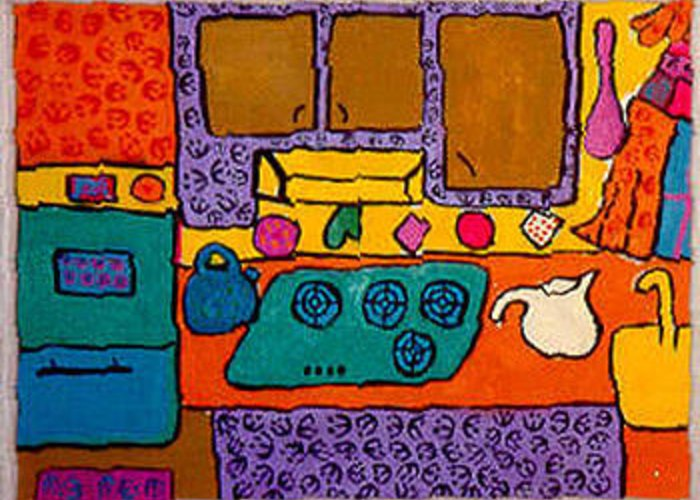 Acrylic Greeting Card featuring the painting My Kitchen by Joyce Goldin