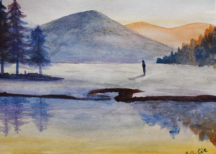 Native Greeting Card featuring the painting My Land by Trilby Cole