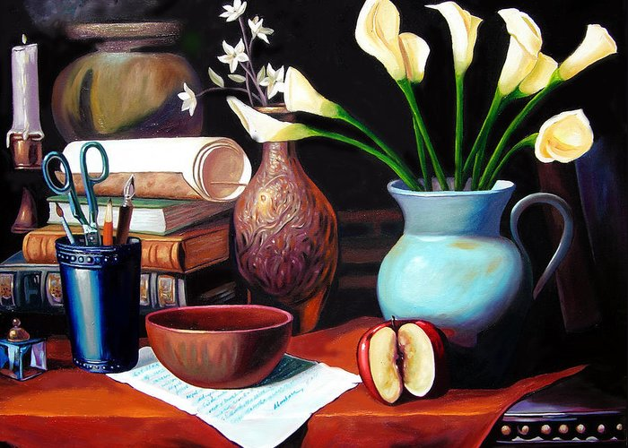 Greeting Card featuring the painting My Letter by Jose Manuel Abraham