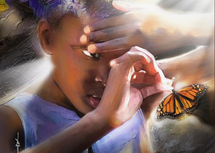 Butterfly Greeting Card featuring the painting My Little Butterfly by Bob Salo