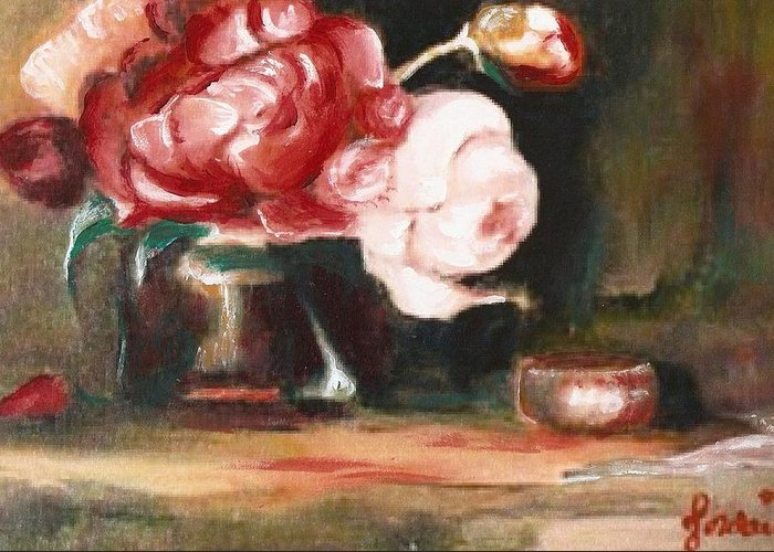 Flower Still Life Artwork Roses Greeting Card featuring the painting My Little Flowers by Jordana Sands
