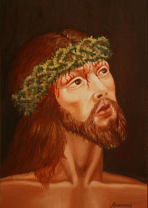 Acrylic Painting Greeting Card featuring the painting My Lord by Rosencruz Sumera