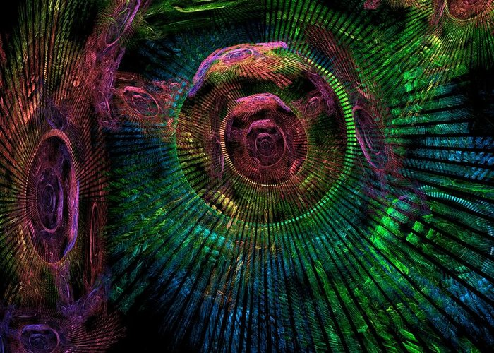 Fractal Greeting Card featuring the digital art My Mind's Eye by Lyle Hatch