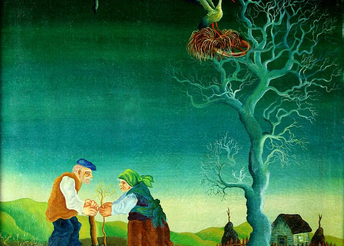 Garden Gardener Gardening Green Living Growing Growth Couple Husband Illustration Illustration And Painting Kneeling Man Mature Adult Mature Couple Nature Nurturing Outdoors People Planting Sustainability Together Tree Two People Watering Watering Can Wife Woman Working Together Accountable Bending Caring Conservation Couple Cultivation Female Grow Male Nurture Obligation Outside Person Pleasure Proud Spouse Togetherness Two Western European Old Village Country Chicken Birds Decorative Naive Greeting Card featuring the painting My Old Village by Leon Zernitsky