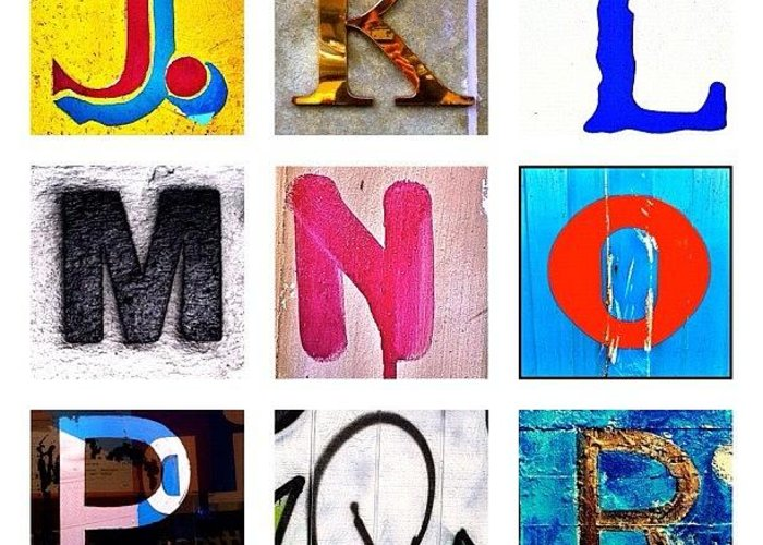 Alphabet Letters Greeting Card featuring the photograph my own alphabet J to R by Julie Gebhardt